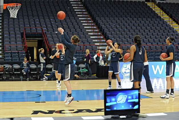 UConn players warm up for practice at the Times Union Center Friday, March 27, 2015 in Albany, N.Y. UConn takes on Texas in the NCAA women's tournament tomorrow.  (Lori Van Buren / Times Union) Photo: Lori Van Buren / 00031196A