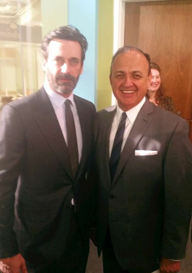 Al Aguilar, a pioneering ad man from San Antonio, met Jon Hamm of 'Mad Men' at the Smithsonian, where the show donated many of its props and artifacts. Photo: Courtesy Creative Civilization