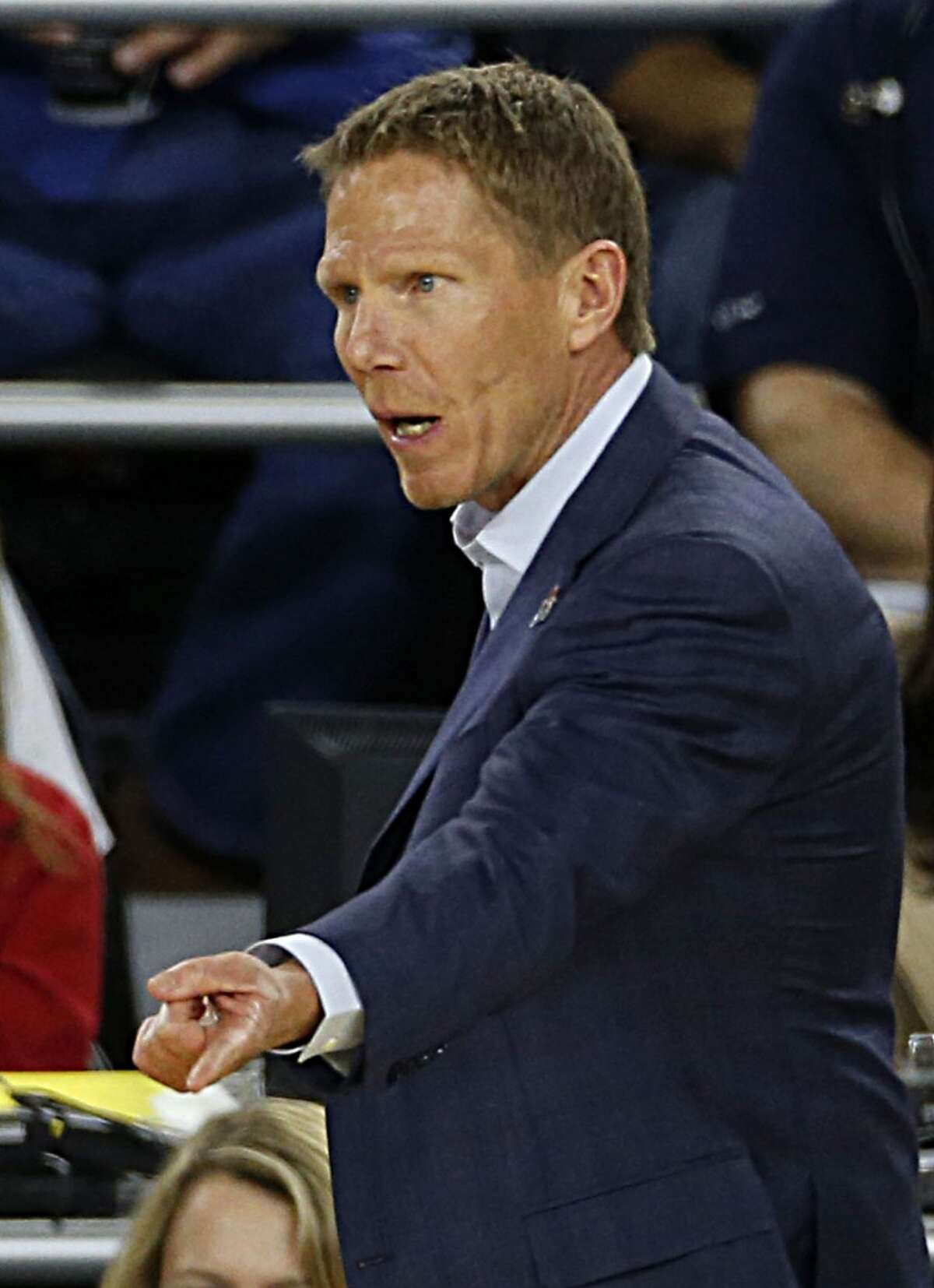 Gonzaga Bulldogs head coach Mark Few during first half of the NCAA South Regional semifinal game against the UCLA Bruins at NRG Stadium Friday, March 27, 2015, in Houston. ( James Nielsen / Houston Chronicle )