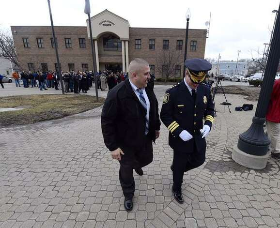 Albany Police Chief Steven Krokoff departs from his retirement ceremony on Friday, March 27, 2015 at Police Headquarters, Henry Johnson Blvd., Albany. (Skip Dickstein/Times Union)