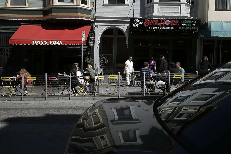 The parklet in front of Tony's Pizza in the North Beach  neighborhood,  as seen on Fri. March 27, 2015, in San Francisco, Calif. Photo: Michael Macor, The Chronicle