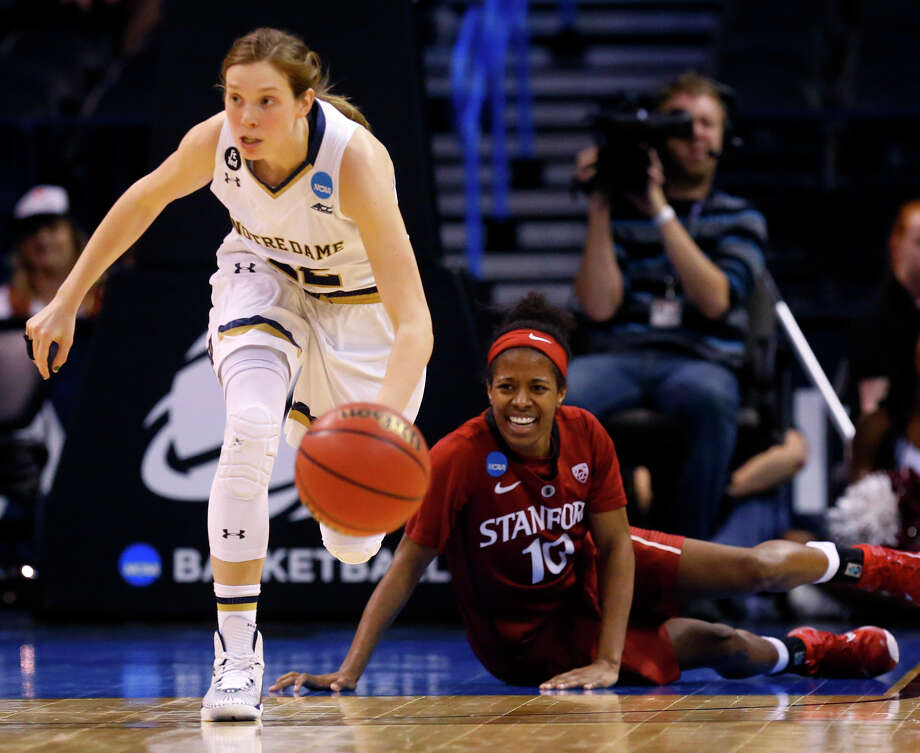Notre Dame's Madison Cable leaves Stanford's Briana Roberson in her wake as she hustles the ball upcourt in the second half. Photo: Sue Ogrocki / Associated Press / AP