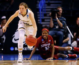 Notre Dame guard Madison Cable (22) takes the ball down court as Stanford guard Briana Roberson (10) reacts during the second half of a women's college basketball regional semifinal game in the NCAA Tournament, Friday, March 27, 2015, in Oklahoma City. (AP Photo/Sue Ogrocki)