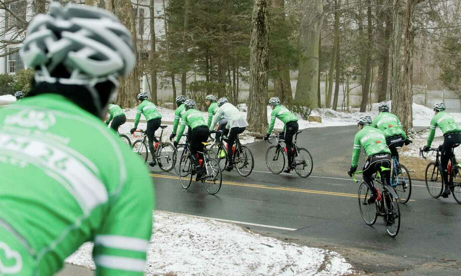 Team 26 heads out from the Community Center in Ridgefield as the 26 cyclists make their way from Newtown to the Capitol in Washington. Saturday, March 28, 2015 Photo: Scott Mullin / The News-Times Freelance