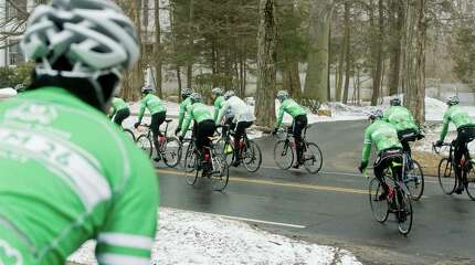 Team 26 heads out from the Community Center in Ridgefield as the 26 cyclists make their way from Newtown to the Capitol in Washington. Saturday, March 28, 2015