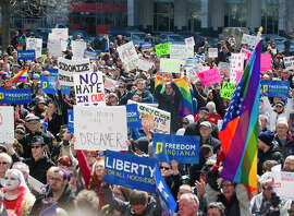 Thousands gather to protest the Religious Freedom Restoration Act at the Indiana State House on Saturday.