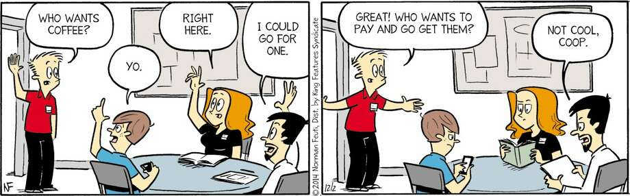 "In this ""Retail"" comic by Norm Feuti, Cooper shows that there is no such thing as a free cup of coffee. Photo: ComicsKingdom"