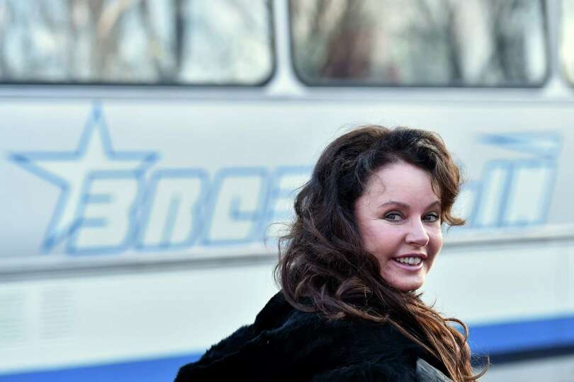 British singer and future space tourist Sarah Brightman takes part in a sending-off ceremony in the