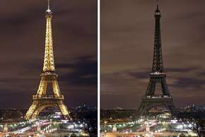 COMBINATION PHOTO - In this two photo combination picture, the Eiffel Tower with its usual lighting at left, and after the lighting was switched off at right, at the occasion of the Earth Hour, in Paris, France, Saturday March 28, 2015.  This Saturday, 28 March 8:30 p.m. local time, individuals, businesses, cities and landmarks around the world are switching off their lights for one hour to focus attention on climate change. (AP Photo/Remy de la Mauviniere)