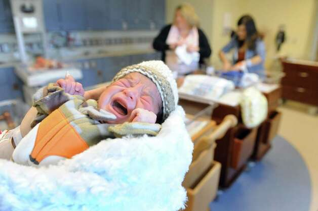 Baby Michael makes his presence known in the nursery on Tuesday, March 24, 2015, at Bellevue Woman's Hospital in Niskayuna, N.Y. (Cindy Schultz / Times Union) Photo: Cindy Schultz / 00031160A