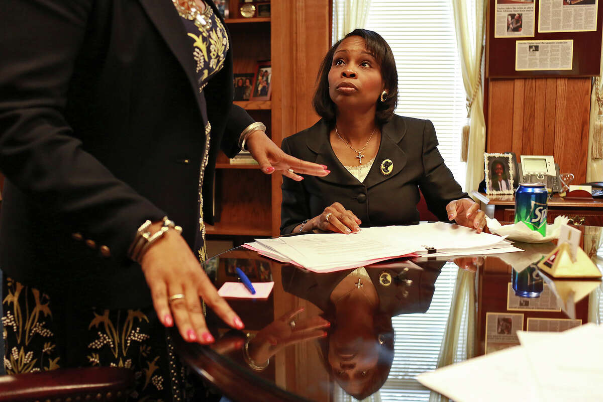 Mayor Ivy Taylor prepares for a meeting in her office at City Hall on Tuesday, March 17, 2015.