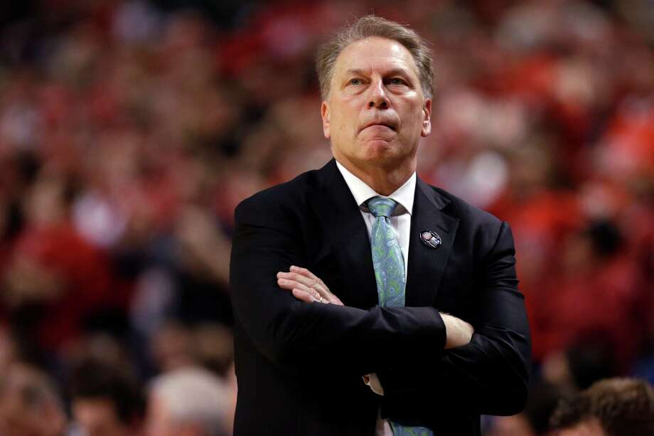 Michigan State head coach Tom Izzo in the in the overtime period of an NCAA college basketball game against Wisconsin in the championship of the Big Ten Conference tournament in Chicago, Sunday, March 15, 2015.  Wisconsin defeated Michigan State 80-69 in overtime.  (AP Photo/Michael Conroy) Photo: Michael Conroy, STF / AP