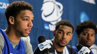 Duke center Jahlil Okafor, from left, guard Matt Jones and forward Justise Winslow meet the media Saturday at NRG Stadium. The Blue Devils will play Gonzaga in the South Region final at NRG Stadium today to determine which team advances to the Final Four.
