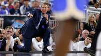 Gonzaga head coach Mark Few shouts instructions during the NCAA South Regional semifinal at NRG Stadium on Friday, March 27, 2015, in Houston.  ( Karen Warren / Houston Chronicle  )