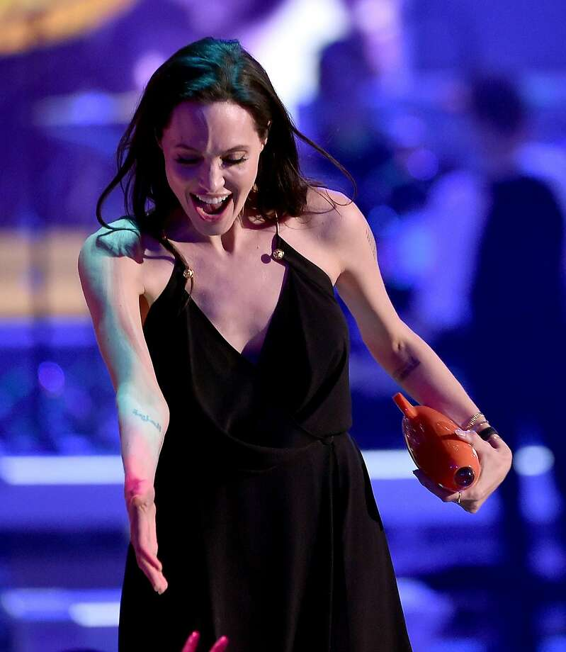 Actress Angelina Jolie accepts award for Favorite Villain for 'Maleficent' onstage during Nickelodeon's 28th Annual Kids' Choice Awards held at The Forum on March 28, 2015 in Inglewood, California. Photo: Kevin Winter, Getty Images