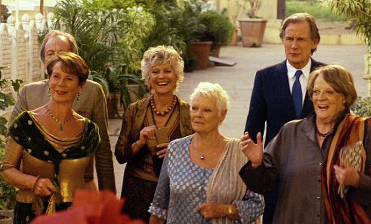 """Dames Maggie Smith and Judi Dench, foreground, lead the cast of the new movie, ìThe Second Best Exotic Marigold Hotel."""""""
