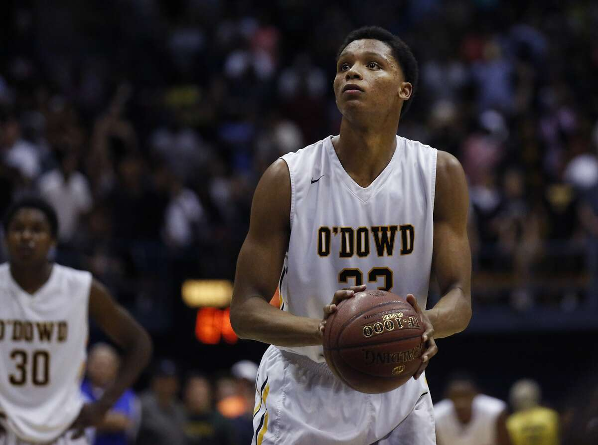Bishop O'Dowd's Ivan Rabb prepares to take the free-throw shot that will win his team the game during the CIF State Basketball Championships open division boys' game between Mater Dei and Bishop O'Dowd in the Haas Pavilion March 28, 2015 in Berkeley, Calif.