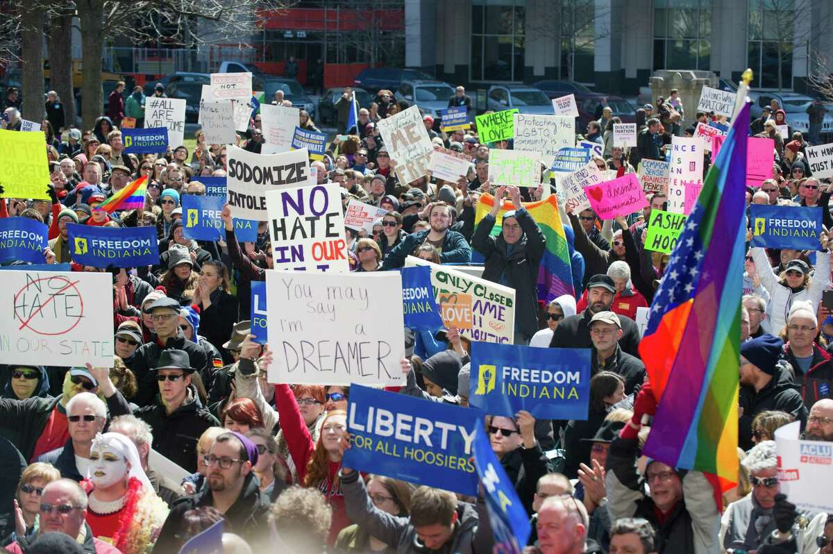 Thousands of opponents of Indiana Senate Bill 101, the Religious Freedom Restoration Act, gathered on the lawn of the Indiana State House to rally against that legislation Saturday, March 28, 2015. Indian Gov. Mike Pence on Friday signed S.B. 101.  Alleged to defend
