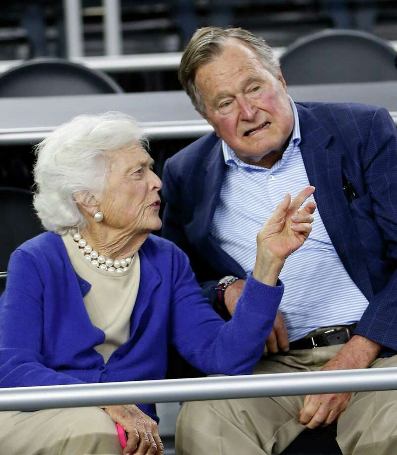 Former President George H.W. Bush and former first lady Barbara Bush are shown in March in Houston. Bush, 91, fell on Wednesday night at the family home in Maine.