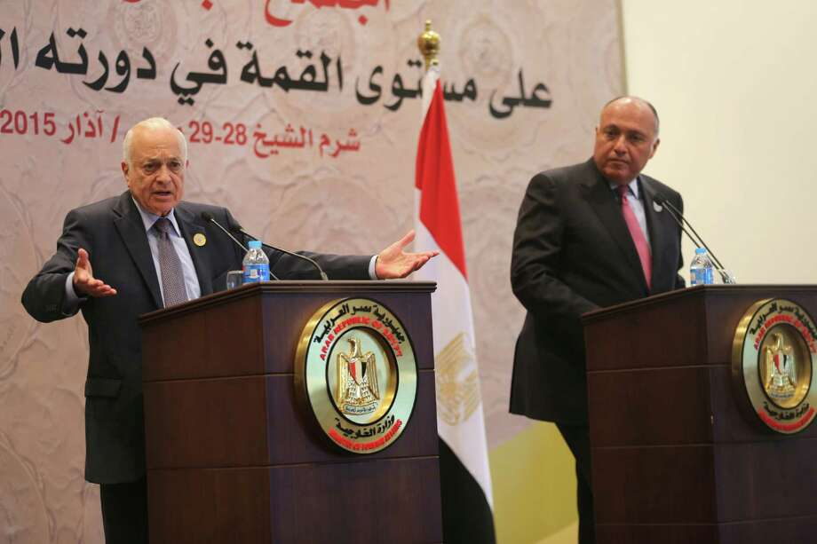 Arab League Secretary-General Nabil Elaraby, left, speaks during a press conference with Egyptian Foreign Minister Sameh Shukri at the conclusion of an Arab summit meeting in Sharm el-Sheikh, South Sinai, Egypt, Sunday, March 29, 2015. (AP Photo/Thomas Hartwell) Photo: Thomas Harwell, STF / AP