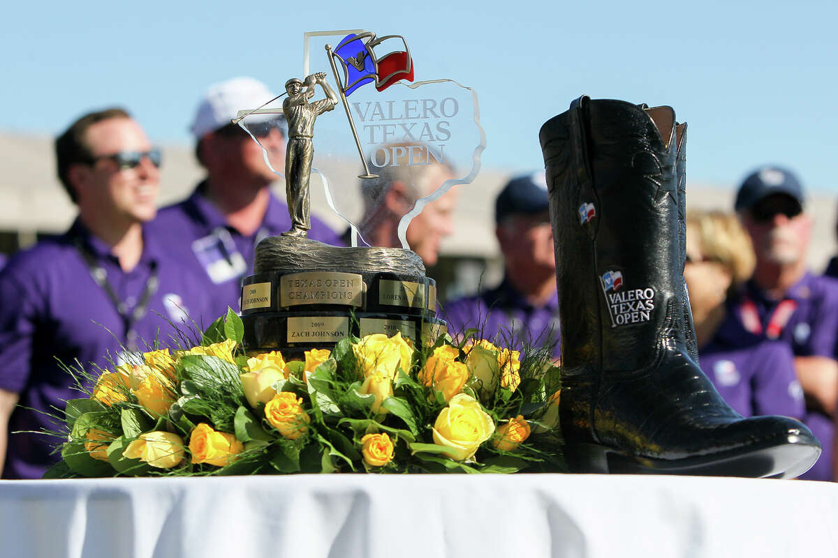 The championship trophy and boots won by Jimmy Walker of Boerne, TX during the final round of the Valero Texas Open at TPC San Antonio on Sunday, March 29, 2015. MARVIN PFEIFFER/ mpfeiffer@express-news.net