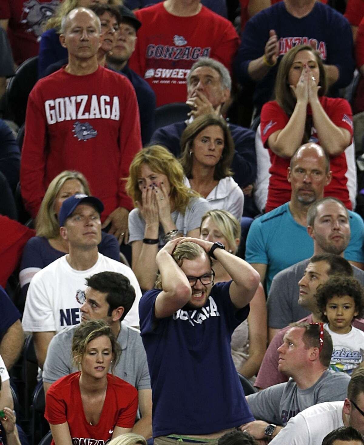Gonzaga Bulldogs fans reacts during the second half of the NCAA South Regional final game against the Duke Blue Devils at NRG Stadium Sunday, March 29, 2015, in Houston. ( James Nielsen / Houston Chronicle )