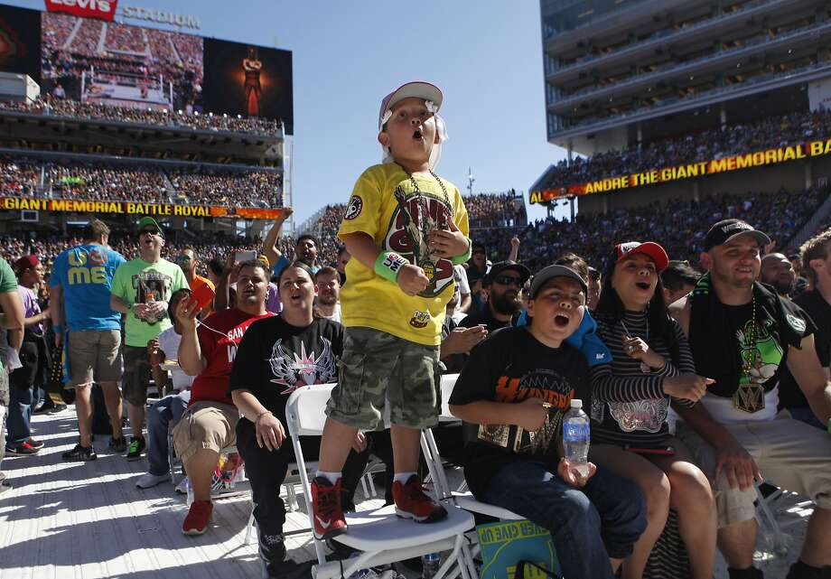 Alex Valencia, 6, of El Sobrante cheers on his favorite wrestlers during WrestleMania 31at Levi's Stadium in Santa Clara, Calif. Sunday, March 29, 2015. Photo: Jessica Christian, The Chronicle