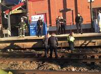 A passenger on a passing train took this picture of the scene where a woman was struck and killed by an Amtrak train in Fairfield, March 29, 2015.