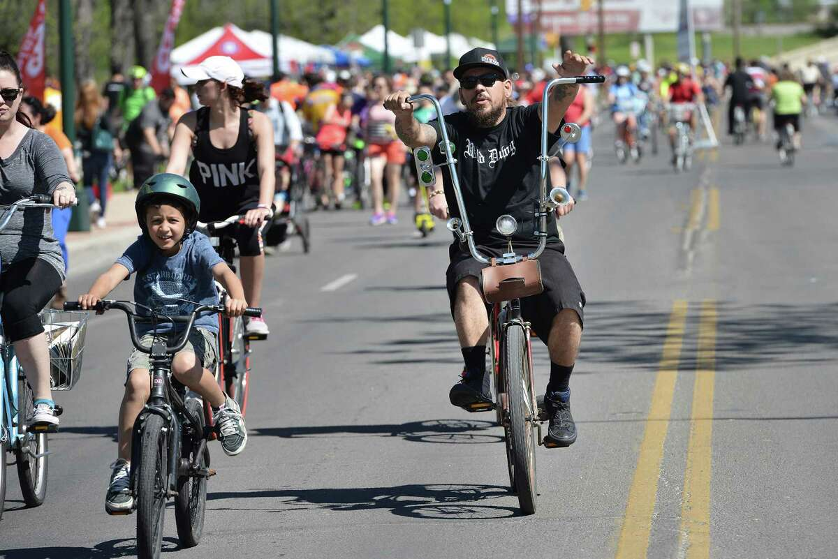 Robert Perez, a member of the Wild Dawgs bicycling group, rode his Lone Star bike down St. Mary's St. during Siclovia, a bi-annual outdoor event put on by the YMCA and other sponsors to promote outdoor recreational activities like bike-riding and rollerblading in San Antonio, Tx. on Saturday, March 28, 2015.
