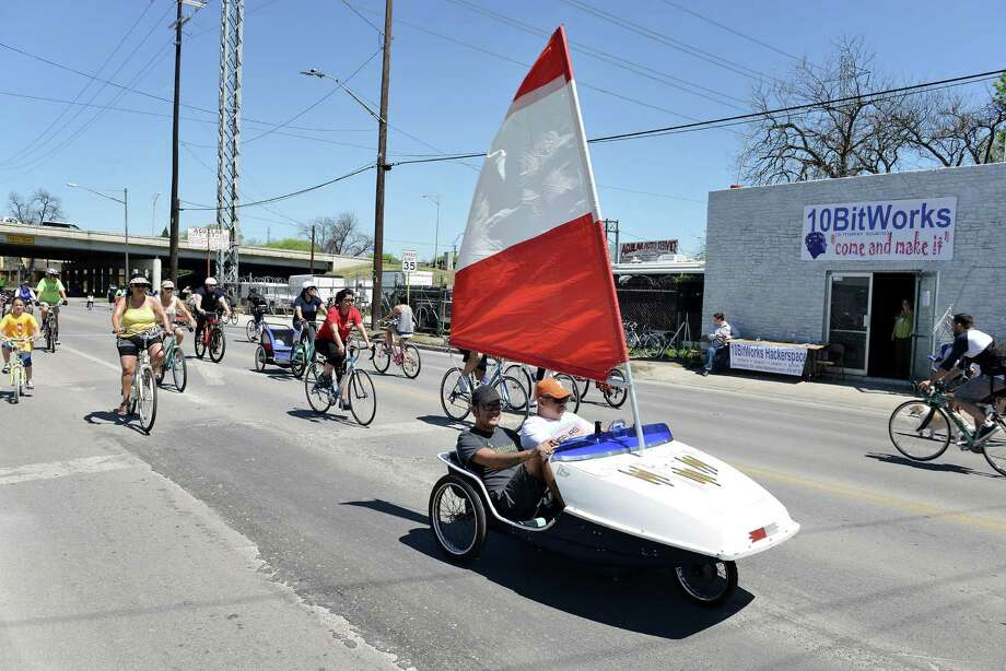A sailboat inspired vehicle made its way down St. Mary's St. during Siclovia, a bi-annual outdoor event put on by the YMCA and other sponsors to promote outdoor recreational activities like bike-riding and rollerblading in San Antonio, Tx. on Saturday, March 28, 2015. Photo: Matthew Busch, For The San Antonio Express-News / For The San Antonio Express-News / © Matthew Busch