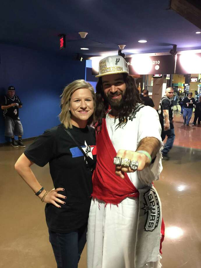 Spurs Jesus and fans enjoyed the game Friday, March 27, 2015. Photo: Spurs Jesus