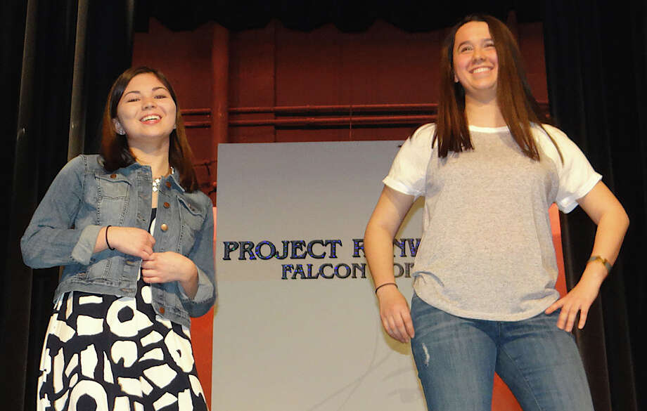 Emily Devine and Maddy Placey model LOFT outfits at the Project Runway: Falcon Edition Fashion Show on Sunday at Fairfield Ludlowe High School. Photo: Mike Lauterborn / Fairfield Citizen
