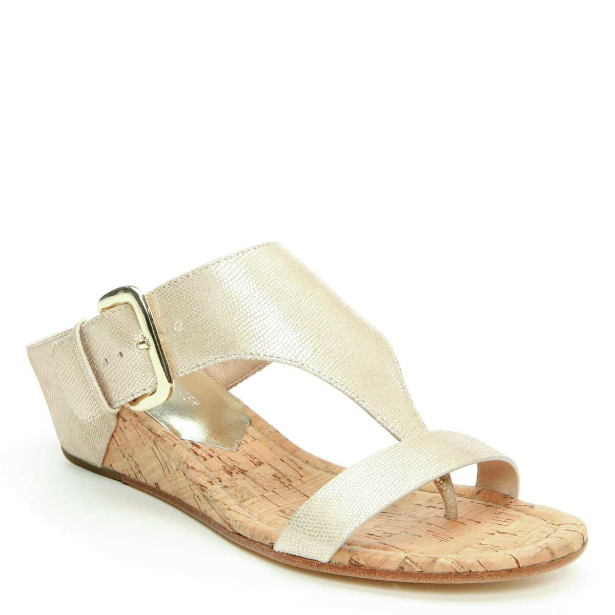 Because of the micro-fiber stretch he uses in the construction of shoes, designer Donald J. Pliner is known for shows that are comfort first, fashion second. Here, a metallic wedge sandal, $198, from his spring 2015 collection, Dillard's North Star Mall.