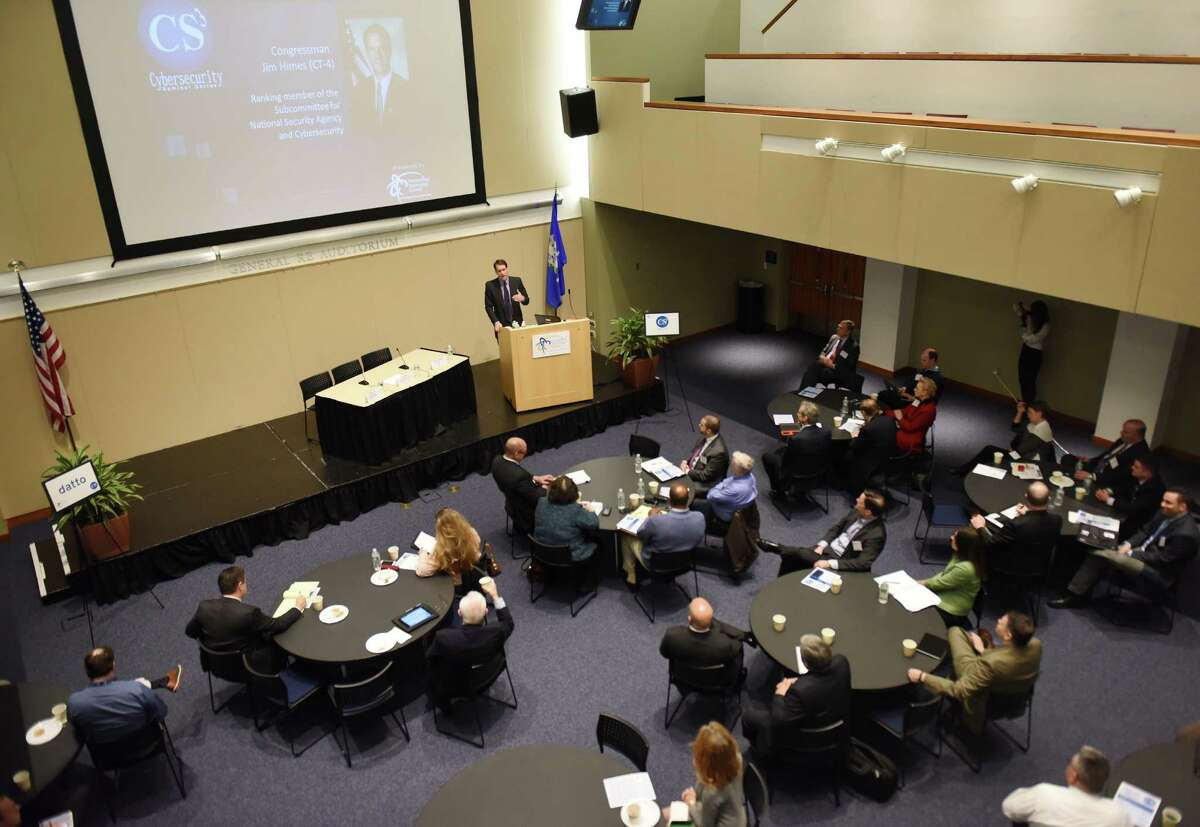 U.S. Rep. Jim Himes speaks during the cybersecurity seminar series at UConn Stamford branch in Stamford, Conn. Monday, March 30, 2015. The Connecticut Technology Council hosted a cybersecurity forum featuring keynote speaker Congressman Jim Himes, a ranking member of the subcommittee for National Security Agency & Cybersecurity. Connecticut Technology Council board member Rick Harris and FBI Supervisory Special Agent Martin McBride also spoke about cybersecurity.
