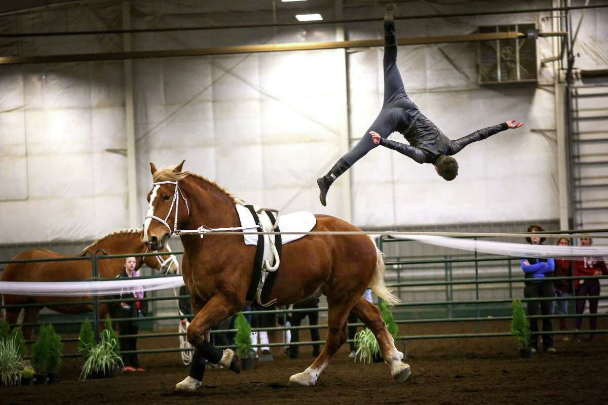 Luke Overton with the Warm Beach Vaulters does a flip off of his horse Prize during selection trials for the World Equestrian Games and International Vaulting Championships at the Lynden Fairgrounds on Saturday, March 28, 2015. The equestrian sport of vaulting dates back to Roman times when it was used to train cavalry riders for warfare. Modern vaulting is stylized and more similar to gymnastics and dance on the back of a moving horse.