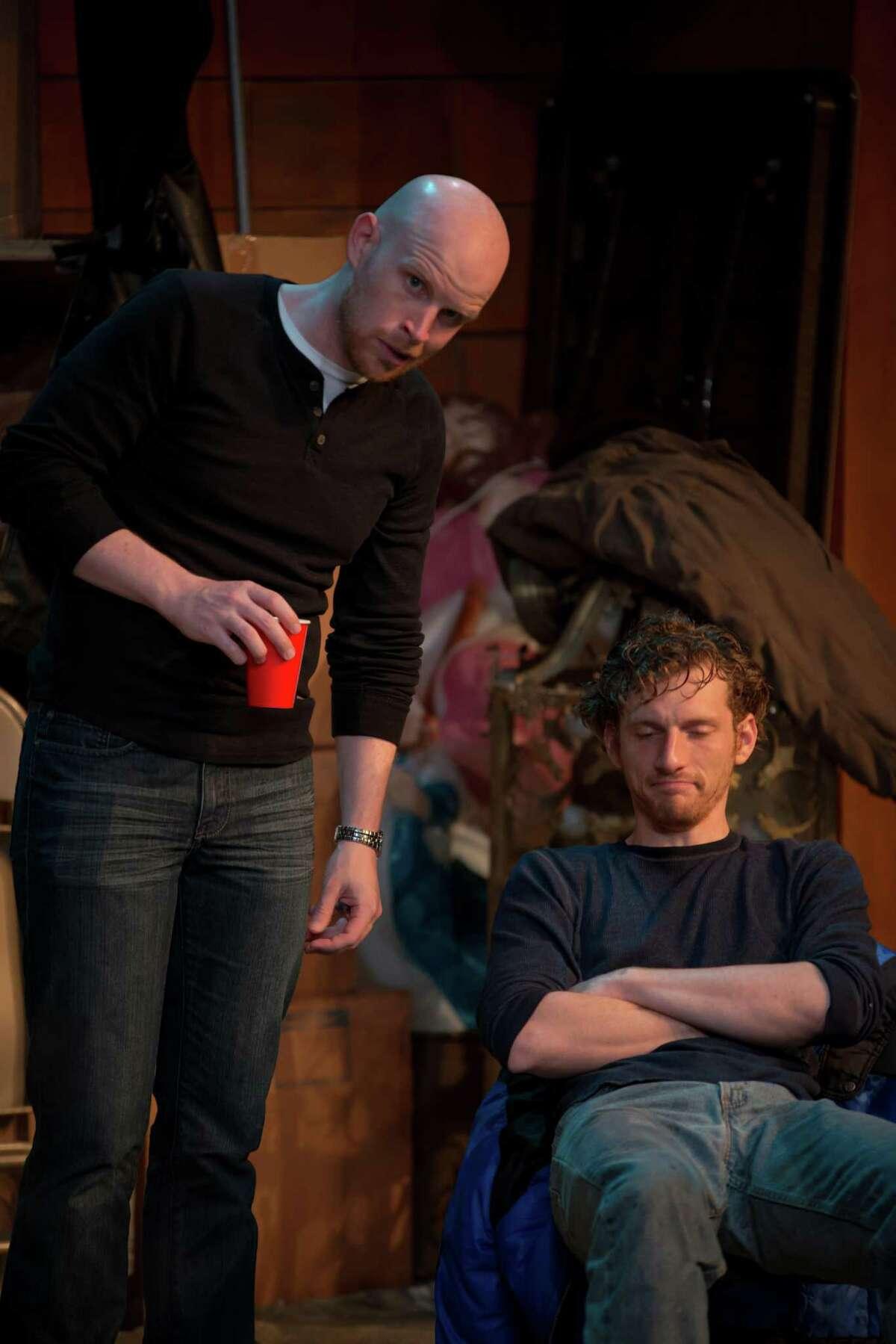"Tyler Keyes and Sam Mandelbaum star in AtticRep's staging of ""The Irish Curse."""