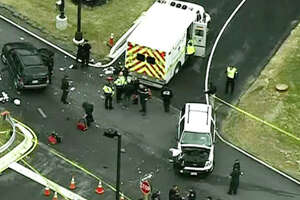 SUV strikes police vehicle at NSA entrance; 1 man killed - Photo