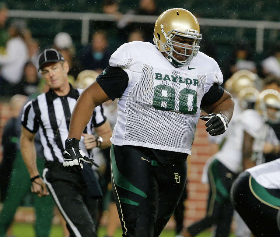Batlor LaQualan McGowan (80) runs on the field  during their intersquad spring football game, Friday, March, 20, 2015 at McLane. . (Rod Aydelotte/Waco Tribune Herald)Baylor