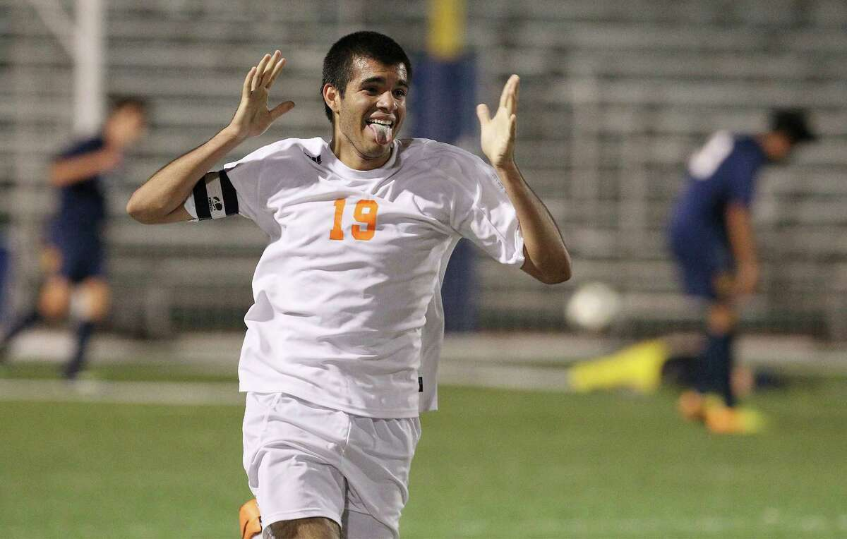 Brandeis' Patricio Botello celebrates after scoring his second goal against O'Connor in the second half of their Region IV quarterfinal soccer game at Farris Stadium in 2014.