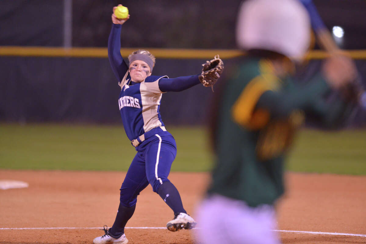 Kelsie Stone of O'Connor fires a pitch home during the Panthers' District 27-6A game Tuesday night vs. Holmes.
