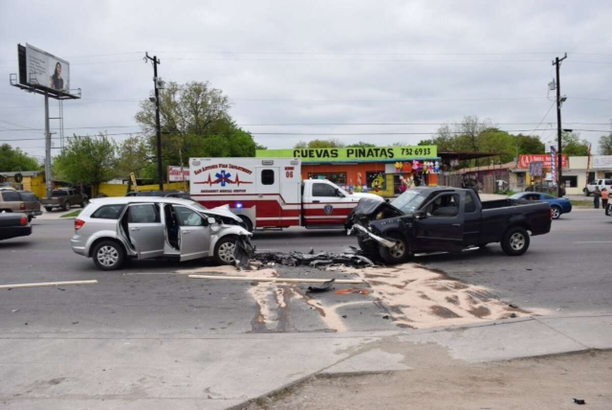 Two vehicles collided on the West Side on Culebra Avenue on March 30, 2015.