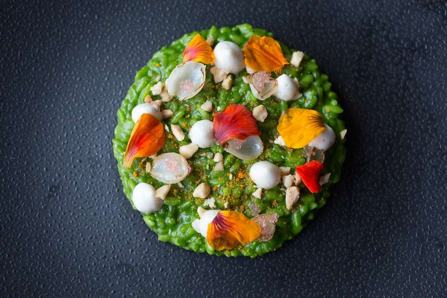 This is the Acquerello risotto with nasturtium, spring onion, almond, and coriander honey at Acquerello in San Francisco Calif., Tuesday March 24, 2015. Photo: Randi Lynn Beach, Special To The Chronicle