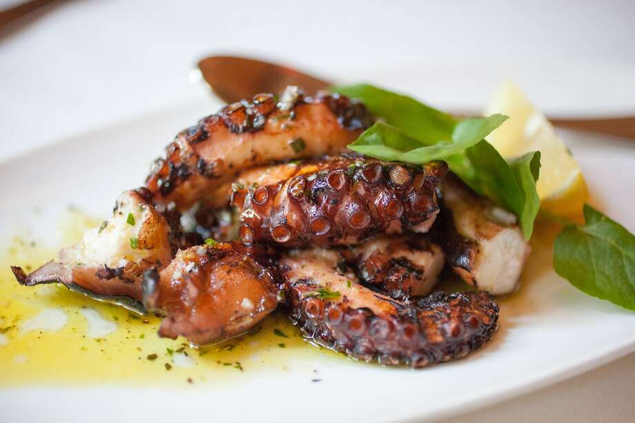 Octapodaki tou Yiorgou, grilled octopus with lemon, oregano and olive oil served at Kokkari in San Francisco Calif., Sunday March 29, 2015. Photo: Randi Lynn Beach, Special To The Chronicle