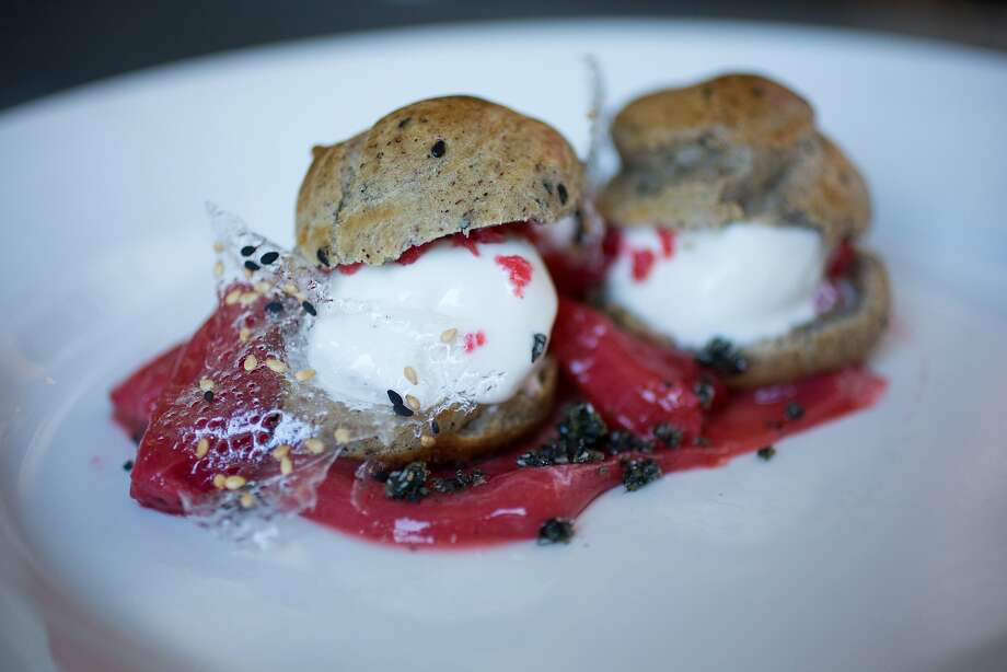 This is the buckwheat profiteroles with vanilla frozen yogurt, roasted strawberries and black sesame photographed at Range in San Francisco Calif., Friday March 27, 2015. Photo: Randi Lynn Beach, Special To The Chronicle