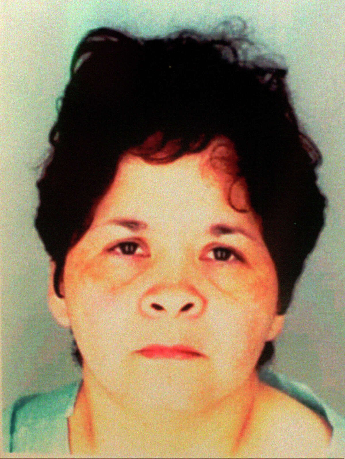 Yolanda Saldivar, shown in this Corpus Christi Police Department booking photo displayed during a news confernce Saturday, April 1, 1995, is being held in connection with the shooting death of grammy-winning recording artist Selena in Corpus Christi, Texas. Selena was fatally shot Friday at a motel in Corpus Christi. (AP Photo/Corpus Christi Police Department)