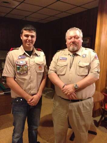 An Eagle Rank Court of Honor Ceremony for Nicholas Anthony Vincenzo Ricchiuti of Troop 1062 in Latham will be 1 p.m. Sunday April 19 at the new Bought Hills Fire House on Route 9. Nick helped design and build an entry sign and pillar for a playground at North Colonie's Blue Creek elementary school built in memory of Vincenzo Rizzo, a family friend who lost his life unexpectedly at the age of 10 in January 2013. Here Nick stands with Scout Master Rich Mertins. (Rocco Ricchiuti)
