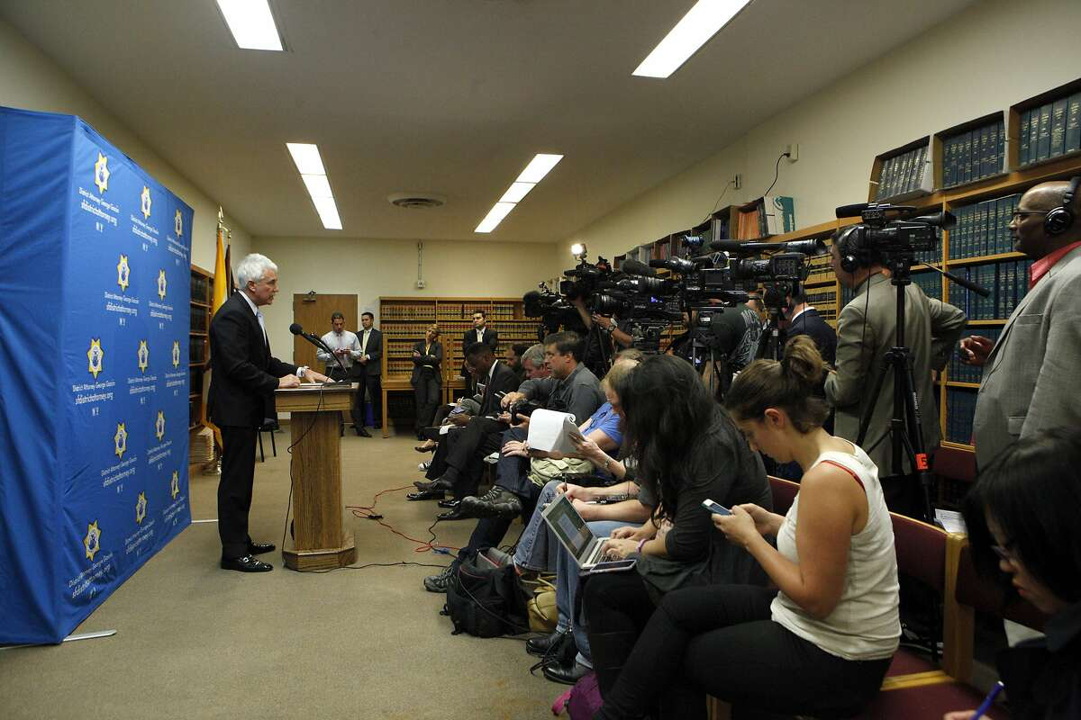 An anti-corruption task force will be formed following a series of misconduct among city employees, announces District Attorney George Gascon during a news conference at the Hall of Justice, Monday, March 30, 2015, in San Francisco, Calif.