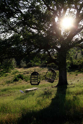Owners of one of the lots installed these swinging basket chairs — perfect for relaxing.
