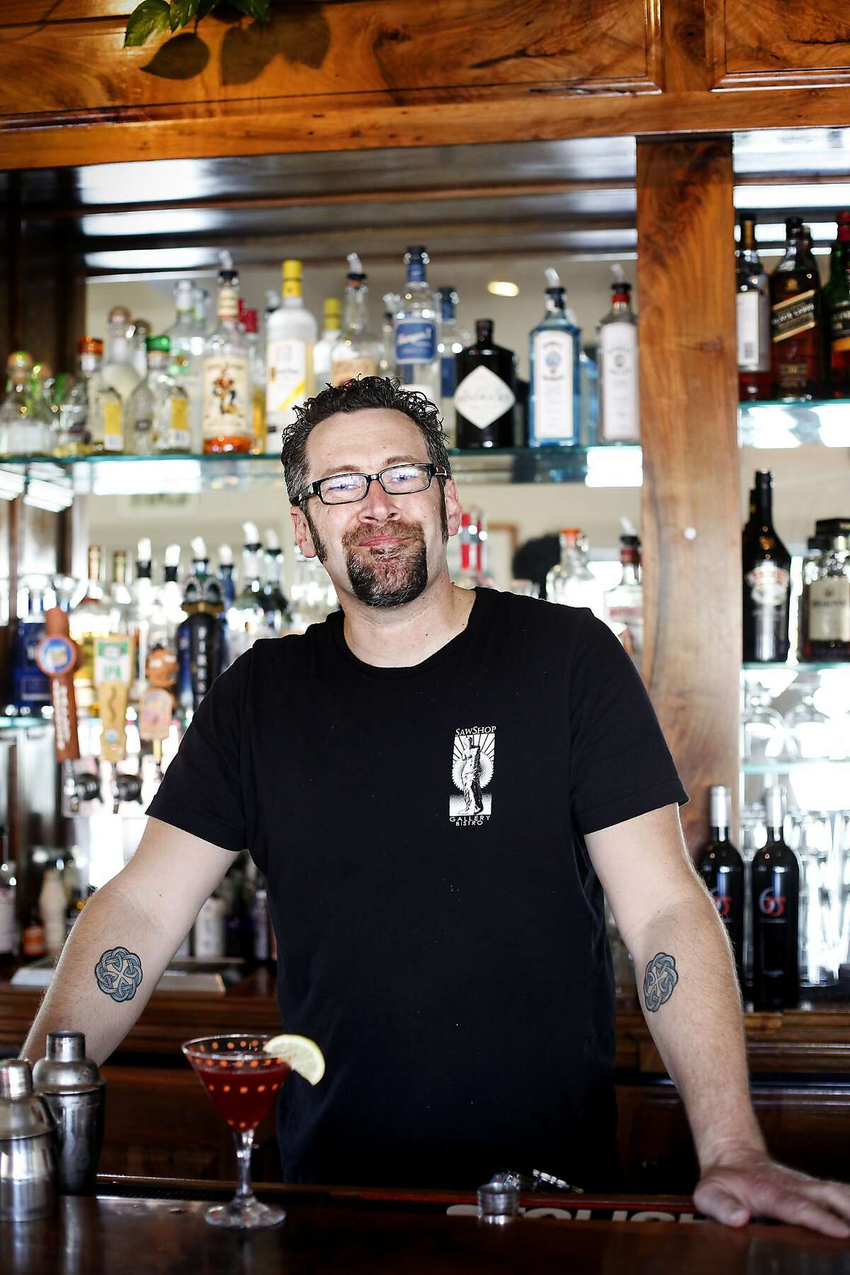 Bartender Bill Chapman at the Saw Shop, in Kelseyville, Calif., on Saturday, March 28, 2015.