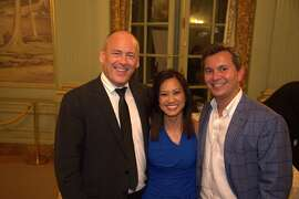 Gentry Magazine's Philanthropist of the Year David Batstone of the nonprofit, Not for Sale, which fights human trafficking,  with the event emcee Thuy Vu and Michael Uytengsu, of Tusk Estates wines and Somersault Snack Co.